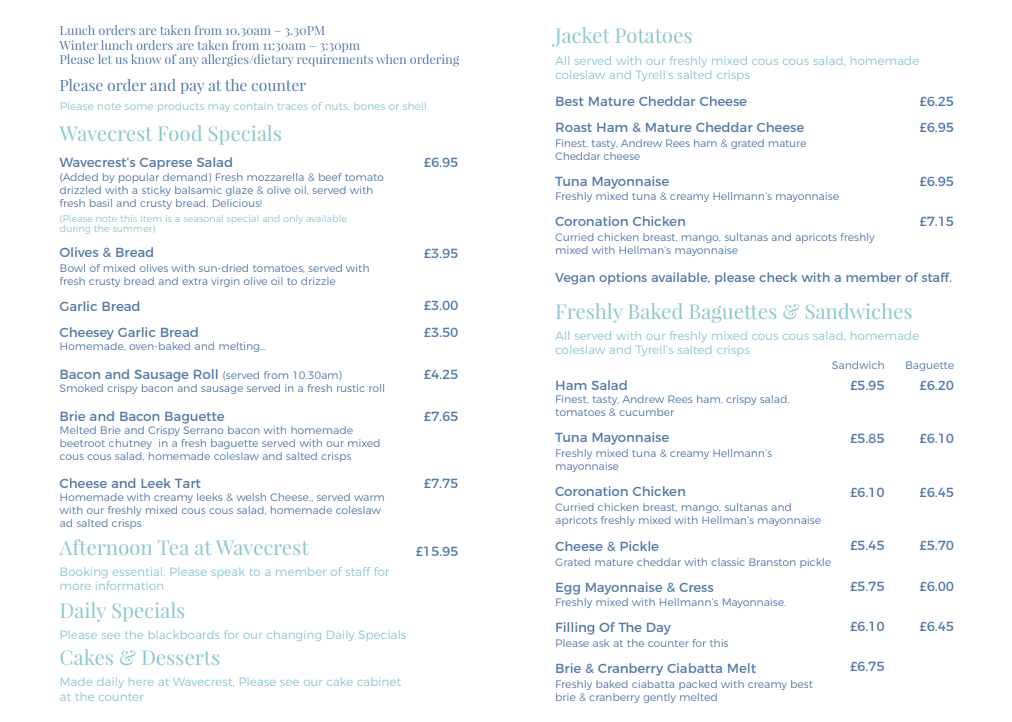 Wavecrest menu 2